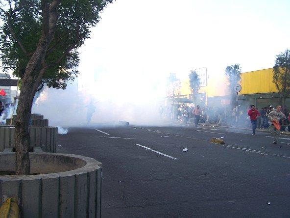 represión policial durante la marcha