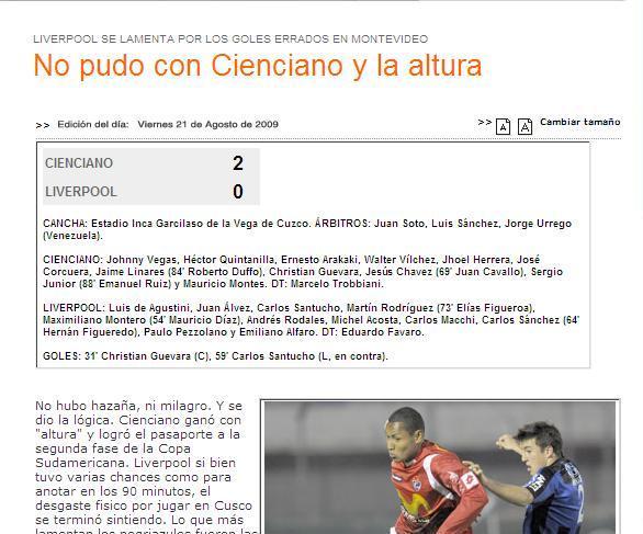 prensa uruguaya despues del CIENCIANO 2 liverpool 0