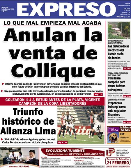 ANULAN VENTA DE AERÓDROMO DE COLLIQUE