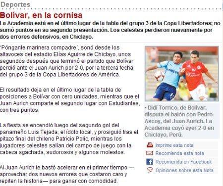 prensa boliviana llora por el triunfo DEL JUAN AURICH