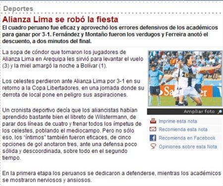 PRENSA BOLIVIANA SE RINDE ANTE ALIANZA LIMA