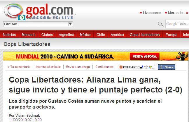 prensa internacional alaba a ALIANZA LIMA
