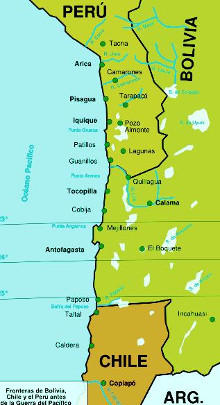 FRONTERA PERU BOLIVIA CHILE ANTES DE 1879