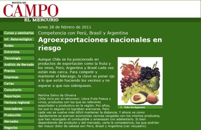 EN CHILE SE PREOCUPAN POR EL CRECIMIENTO AGROEXPORTADOR DEL PERU
