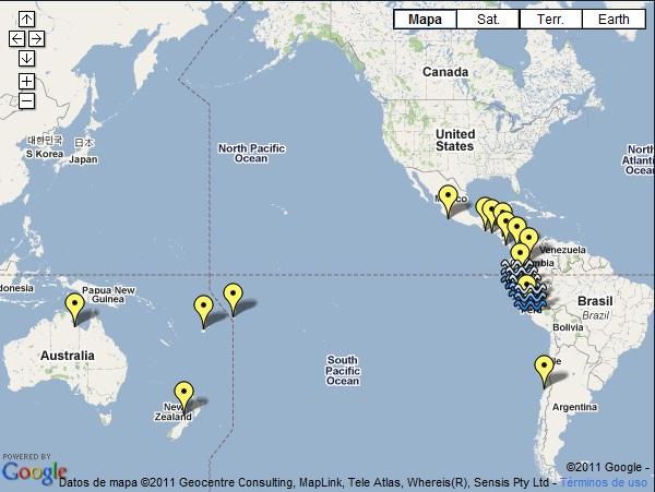 Mapa de los países donde llegará el tsunami