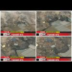 Combo of frame grabs show a tsunami demolishing buildings in Sendai city