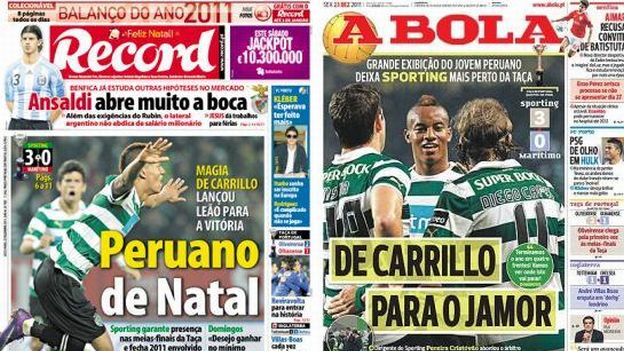 ANDRE CARILLO EN LOS DIARIOS DE PORTUGAL