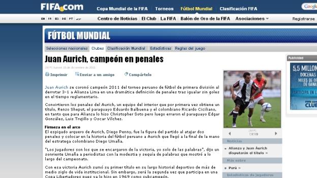 FIFA DESTACA TÍTULO DE JUAN AURICH
