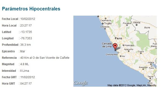 SISMO EN LIMA 10 DE FEBRERO 2012