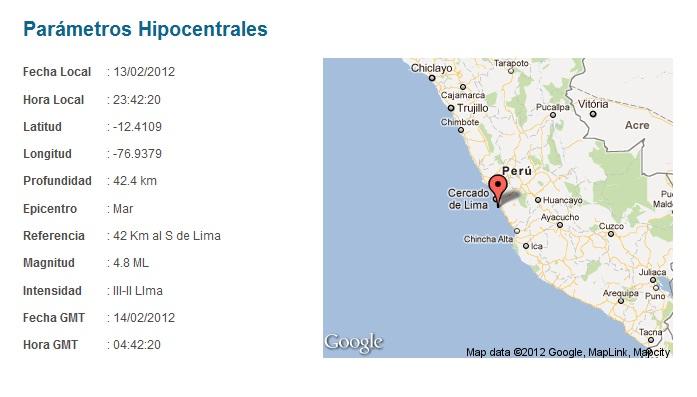 SISMO EN LIMA 13 DE FEBRERO DE 2012