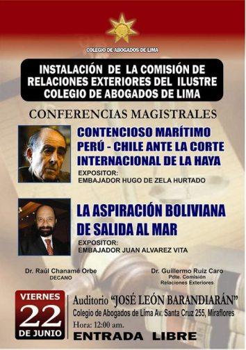 CONFERENCIA MAGISTRAL DIFERENDO MARITIMO PERU CHILE Y LA ASPIRACION BOLIVIANA DE SALIDA AL MAR