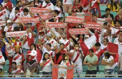 Fans of Peru cheer during the Copa America football tournament quarter-final match against Uruguay at the Fonte Nova Arena in Salvador, Brazil, on June 29, 2019. (Photo by Raul ARBOLEDA / AFP)
